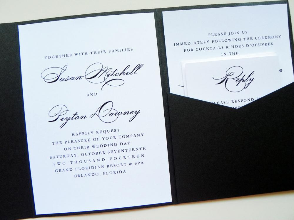 Pocketfold Wedding Invitations   Elegance Signature Pocketfold Invitation  Suite