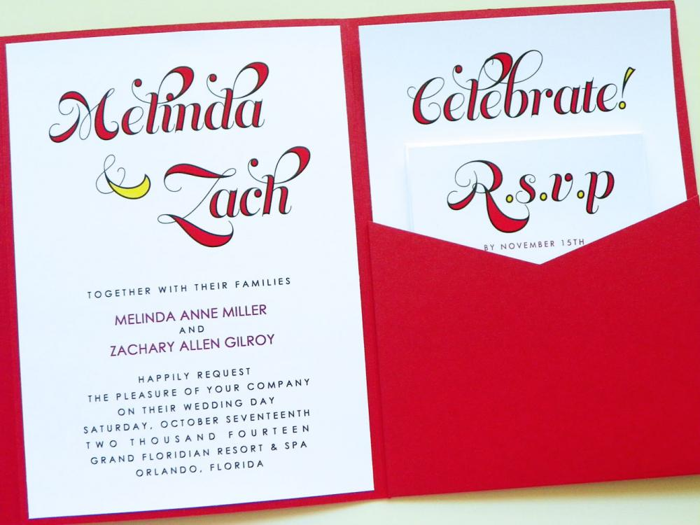 Pocketfold Wedding Invitations - Melinda Signature Pocketfold Invitation Suite