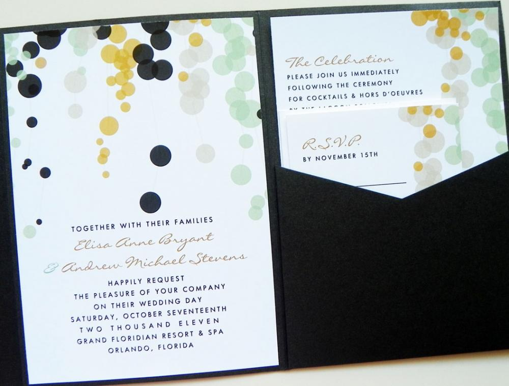 Pocketfold Wedding Invitations - Modern Bubbles Signature Pocketfold Invitation Suite