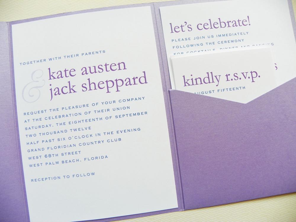 Pocketfold Wedding Invitations   Modern Names Signature Pocketfold  Invitation Suite