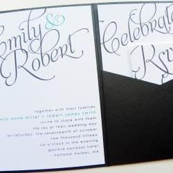 Pocketfold Wedding Invitations - Scripted Signature Pocketfold Invitation Suite