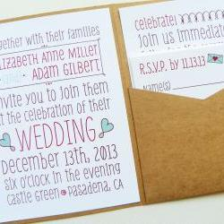 Pocketfold Wedding Invitations - Poster Doodles Signature Pocketfold Invitation Suite